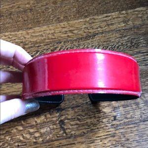 Red patent headband